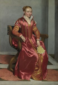 Portrait of a Lady, perhaps Contessa Lucia Albani Avogadro ('La Dama in Rosso') by Giovanni Battista Moroni
