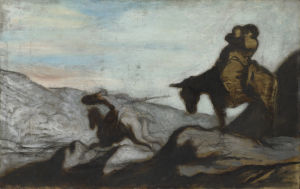 Don Quixote and Sancho Panza by Honoré-Victorin Daumier