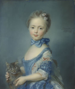 A Girl with a Kitten by Jean-Baptiste Perroneau