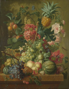 Fruit and Flowers by Paulus Theodorus van Brussel