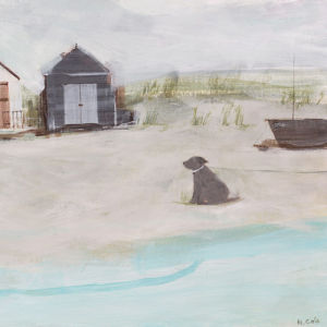 Beach & Hut & Dog by Hannah Cole