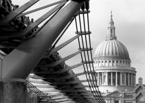 Millenium Bridge spectators by St. Paul's by Niki Gorick