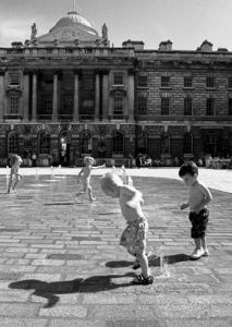 Dodging fountains, Somerset House by Niki Gorick