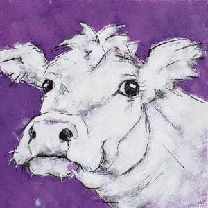 Cow on Purple 2 by Nicola King