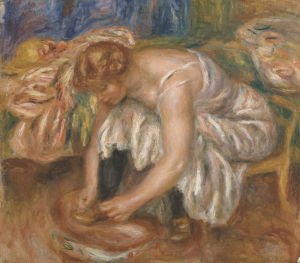 Woman tying her shoe by Pierre Auguste Renoir