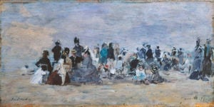 Beach at Trouville by Eugene Louis Boudin