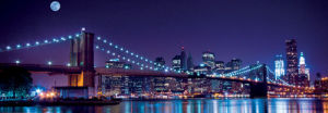 Full Moon over Brooklyn Bridge and Manhattan by Littleny