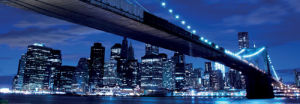 Brooklyn Bridge and Manhattan Skyline at Night by Joshua Haviv