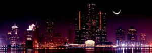 Detroit Skyline at Night by Vladimir Mucibabic