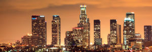 Downtown Los Angeles Skyline at Night by Konstantin Sutyagin