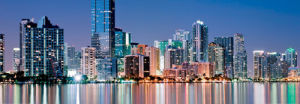 Miami Skyline along Biscayne Bay by FloridaStock