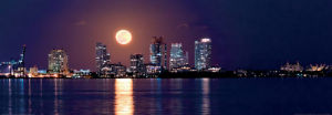 Full Moon over Miami South Beach by FloridaStock