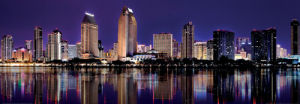 Downtown Cityscape Reflected in San Diego Bay by Dancestrokes