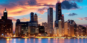 Chicago Skyline at Sunset by Rudy Balasko