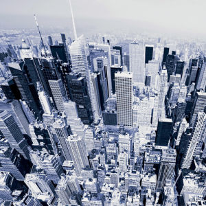 Aerial View of Manhattan by Janis Lacis