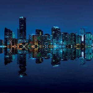 Miami Skyline at Night by Carsten Reisinger