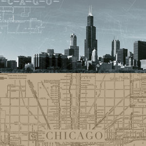 Chicago Map I by The Vintage Collection
