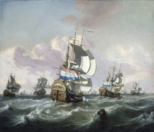 A Squadron of Dutch Indiamen in Choppy Seas by Jan Claesz Rietschoof