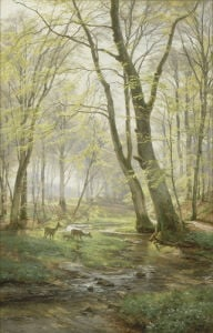 A Woodland Scene with Deer, 1895 by Carl Frederic Aagaard