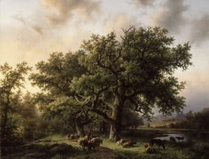 Cattle Drivers in a Rhine Landscape, 1856 by Barend Cornelis Koekkoek