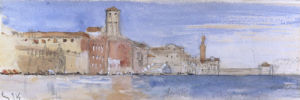 Gondolas alongside a Palazzo and Bridge, Venice by John Ruskin