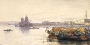 Santa Maria Della Salute and the Doge's Palace by Edward Lear