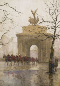 Hyde Park Corner, with Household Cavalry, 1918 by Rose Maynard Barton