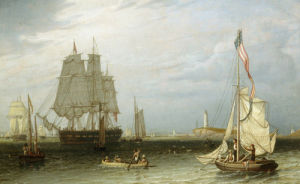 Shipping Scene at Boston Light, 1829 by Robert Salmon