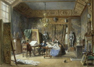 The Artist's Studio - Ladies Examining a Portfolio, 1860 by L Haghe