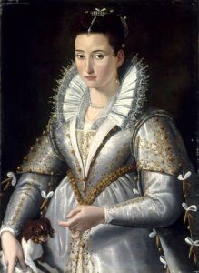 A Lady Wearing a White and Gold-Embroidered Dress by Santi di Tito
