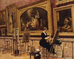 At the Louvre Copying Murillo, 1912 by Louis Beroud