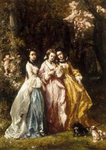 La Lettre D'Amour (Lecture dans le Parc), 1853 by Eugene Isabey