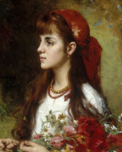 A Young Girl with Flowers by Alexei Alexeiewitsch Harlamoff