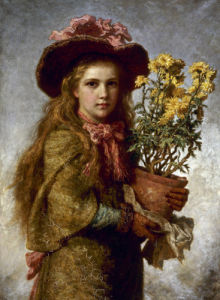 Young Girl with Flower Pot by Carl Wilhelm Friedrich Bauerle