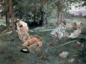 Elegant Figures in a Summer Garden, 1895 by Emilio Sala y Frances