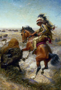 Chief Spotted Tail Shooting Buffalo by Louis Maurer
