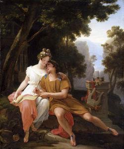 Propertius and Cynthia at Tivoli by Auguste Jean Baptiste Vinchon