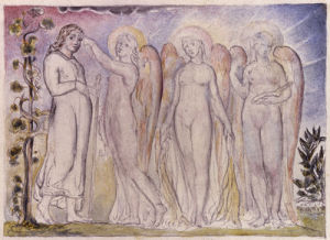 Christian met by the Three Shining Ones - Pilgrim's Progress by William Blake