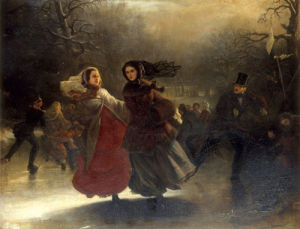 Patinage en Hiver by Continental School 19th Century