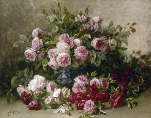 Still Life with Pink and Red Roses by Jean Capeinick