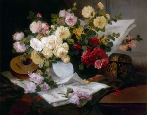 Vase of Roses with Mandolin by Eugene Henri Cauchois
