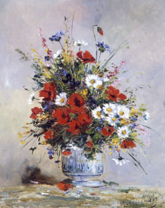 Bouquet of Flowers (Poppies) by Eugene Henri Cauchois