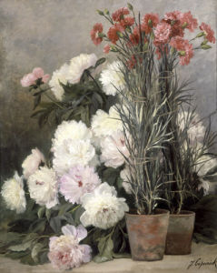 Peonies and Red Carnations by Jean Capeinick