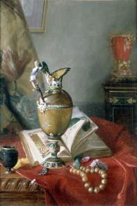 A Still Life with Urns and Illuminated Manuscript by Blaise Alexandre Desgoffe