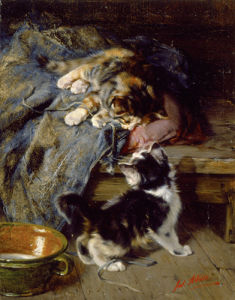 Kittens at Play by Julius Adam