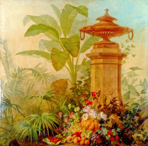 Still Life with Flowers and Tropical Plants on a Balustrade II by Jean Capeinick