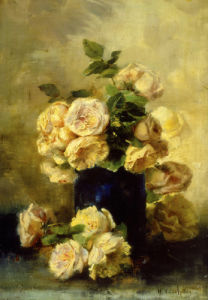 A Still Life with White and Yellow Roses by Eugene Henri Cauchois