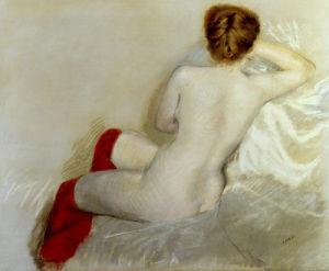 Nudo con le Calze Rosse, 1879 by Giuseppe De Nittis