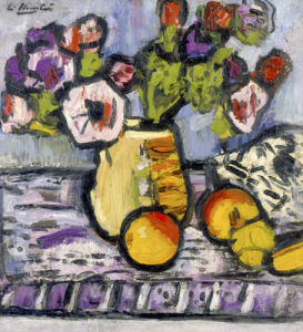 Still Life with Anemones and Apples by Leslie Hunter