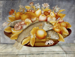Still life of fruit and flowers, with three fish and a lobster in a copper dish by Octavianus Monfort